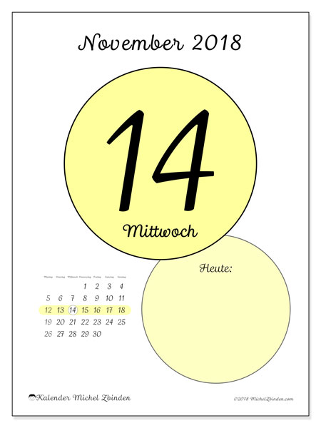 Kalender November 2018 (45-14MS). Kalender für den Tag, um kostenlos zu drucken.
