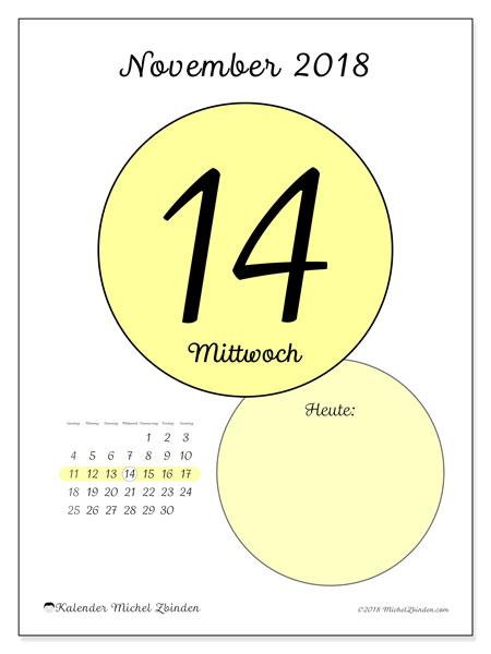 Kalender November 2018 (45-14SS). Täglicher Kalender zum kostenlosen ausdrucken.