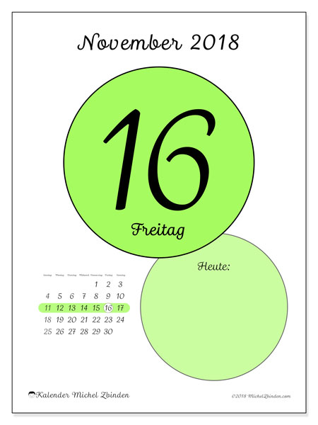 Kalender November 2018 (45-16SS). Täglicher Kalender zum kostenlosen ausdrucken.