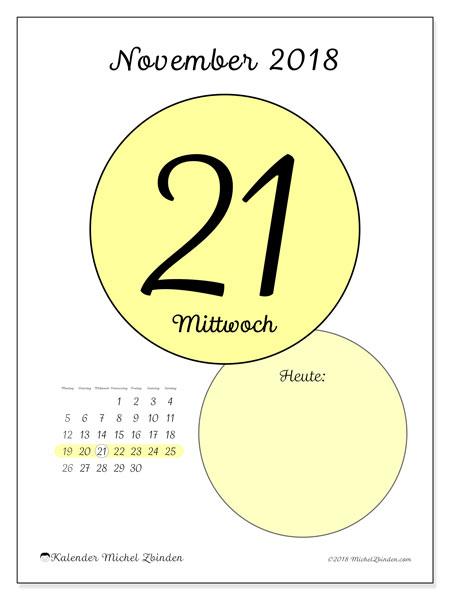 Kalender November 2018 (45-21MS). Kalender für den Tag, um kostenlos zu drucken.