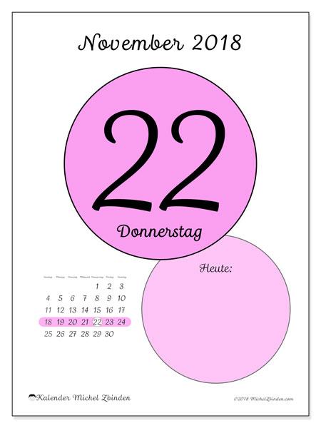 Kalender November 2018 (45-22SS). Täglicher Kalender zum kostenlosen ausdrucken.