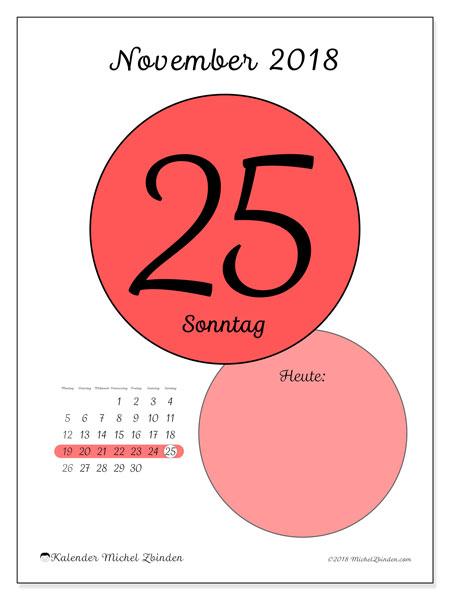 Kalender November 2018 (45-25MS). Täglicher Kalender zum kostenlosen ausdrucken.