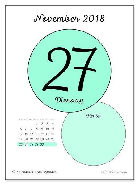 Kalender November 2018 (45-27MS). Täglicher Kalender zum kostenlosen ausdrucken.