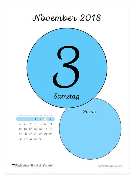 Kalender November 2018 (45-3MS). Täglicher Kalender zum kostenlosen ausdrucken.