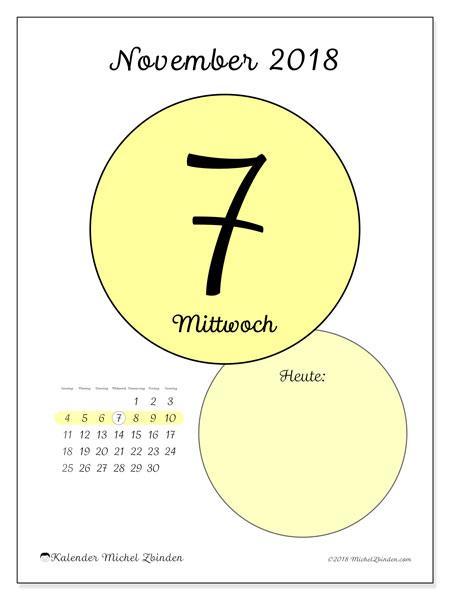 Kalender November 2018 (45-7SS). Täglicher Kalender zum kostenlosen ausdrucken.