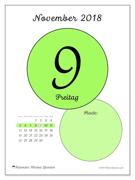 Kalender November 2018 (45-9MS). Kalender für den Tag, um kostenlos zu drucken.