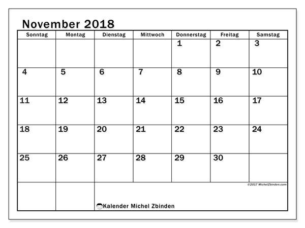Kalender November 2018 (50SS). Kostenloser Zeitplan zum ausdrucken.