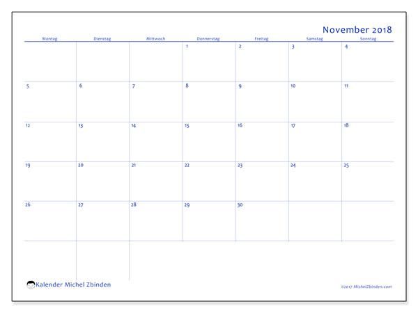 Kalender November 2018 (55MS). Kostenloser Planer zum ausdrucken.