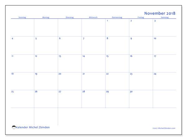 Kalender November 2018 (55SS). Monatskalender zum kostenlosen ausdrucken.