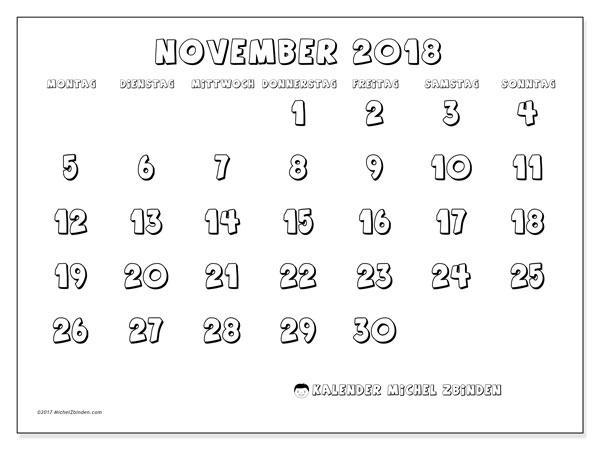 Kalender November 2018 (56MS). Monatlicher Zeitplan zum kostenlosen ausdrucken.