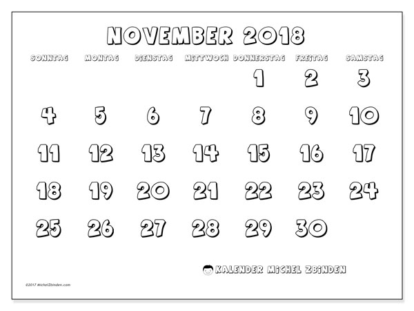 Kalender November 2018 (56SS). Kostenlos ausdruckbare Zeitplan.