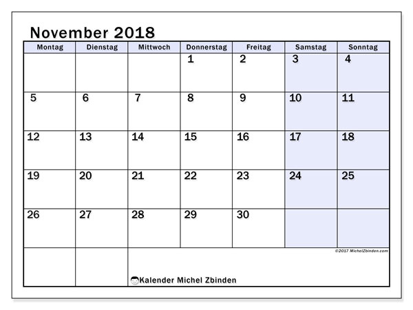 Kalender November 2018 (57MS). Kalender für den Monat zum kostenlosen Ausdrucken.