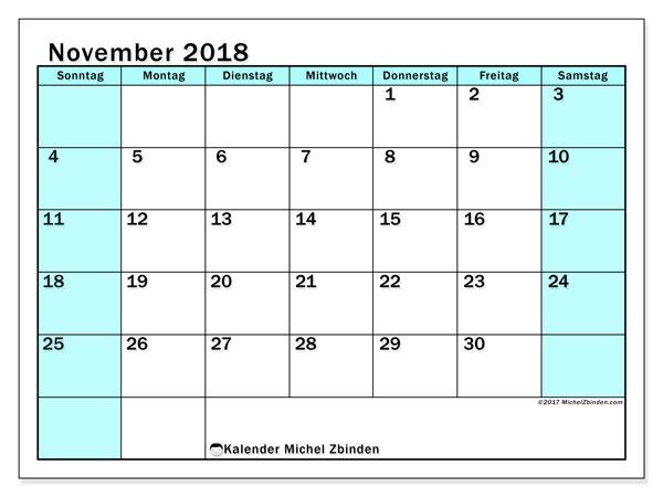 Kalender November 2018 (59SS). Monatlicher Zeitplan zum kostenlosen ausdrucken.