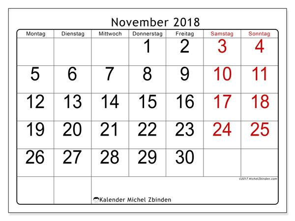Kalender November 2018 (62MS). Kostenlos ausdruckbare Kalender.