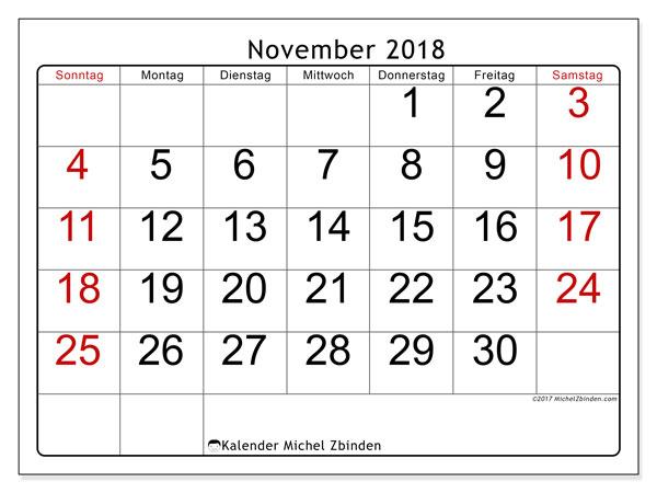 Kalender November 2018 (62SS). Monatskalender zum kostenlosen ausdrucken.