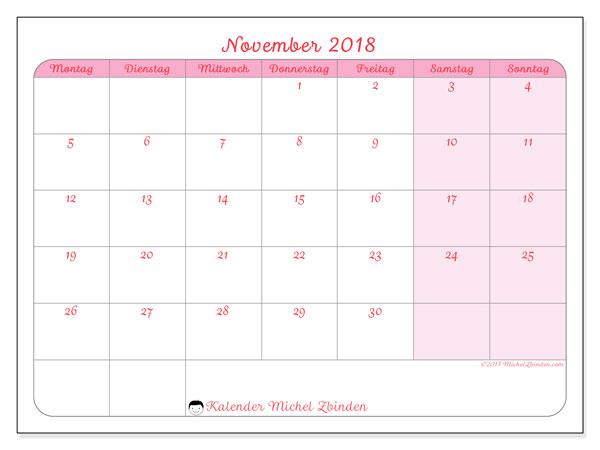 Kalender November 2018 (63MS). Monatlicher Zeitplan zum kostenlosen ausdrucken.