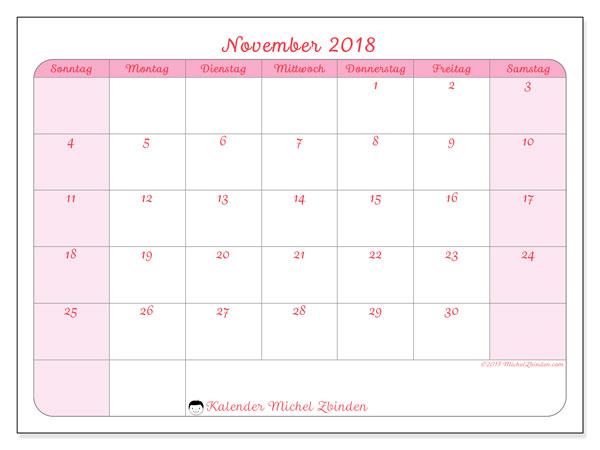 Kalender November 2018 (63SS). Monatlicher Kalender zum kostenlosen ausdrucken.