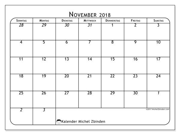 Kalender November 2018 (67SS). Monatlicher Zeitplan zum kostenlosen ausdrucken.
