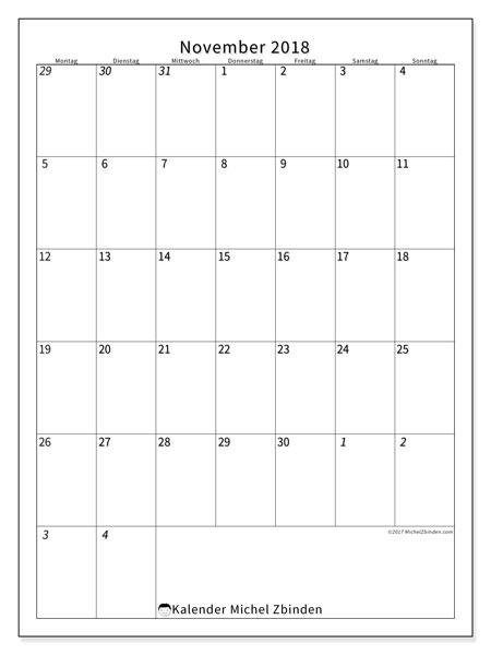 Kalender November 2018 (68MS). Monatlicher Zeitplan zum kostenlosen ausdrucken.