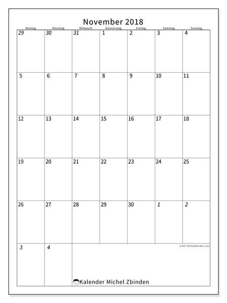 Kalender November 2018 (68MS). Kostenlos ausdruckbare Kalender.