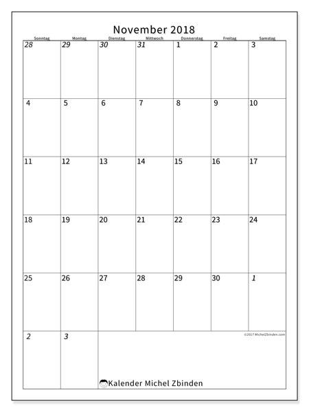 Kalender November 2018 (68SS). Monatskalender zum kostenlosen ausdrucken.