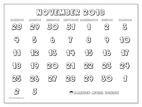 Kalender November 2018 (71SS). Kalender zum kostenlosen ausdrucken.
