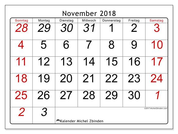 Kalender November 2018 (72SS). Monatlicher Zeitplan zum kostenlosen ausdrucken.