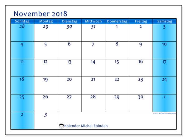 Kalender November 2018 (75SS). Monatlicher Zeitplan zum kostenlosen ausdrucken.