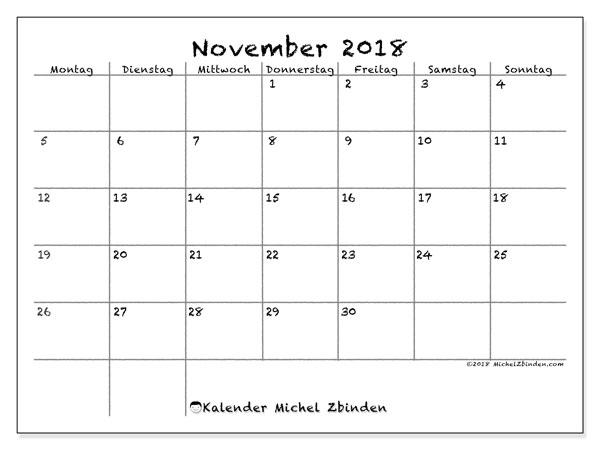 Kalender November 2018 (77MS). Monatlicher Kalender zum kostenlosen ausdrucken.