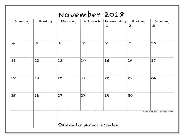 Kalender November 2018 (77SS). Kostenlos ausdruckbare Kalender.