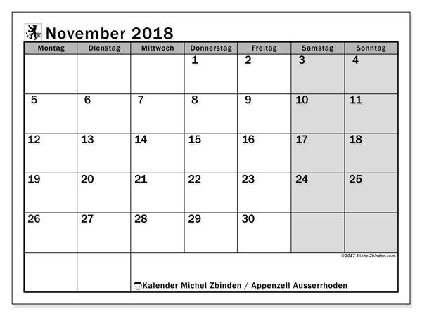 Kalender für November 2018, , mit Feiertagen des Kantons Apenzell Ausserrhoden. Kalender für den Monat zum kostenlosen Ausdrucken.