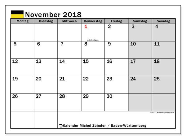 Kalender für November 2018, mit Feiertagen Baden-Württemberg. Monatlicher Kalender zum kostenlosen ausdrucken.