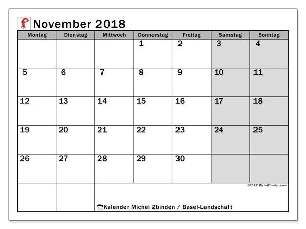 Kalender für November 2018, , mit Feiertagen des Kantons Basel Landschaft. Zeitplan zum kostenlosen ausdrucken.