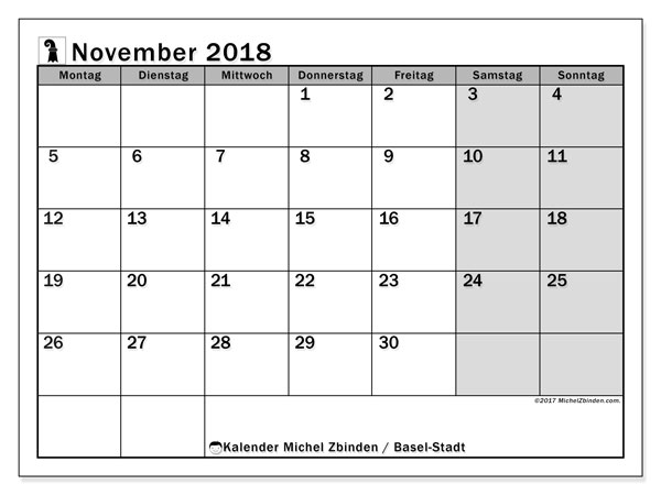 Kalender für November 2018, mit Feiertagen des Kantons Basel Stadt. Monatlicher Zeitplan zum kostenlosen ausdrucken.