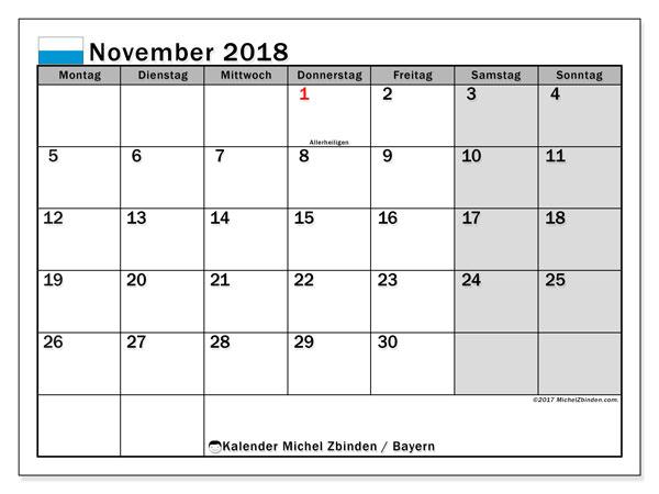Kalender für November 2018, mit Feiertagen Bayern. Monatskalender zum kostenlosen ausdrucken.