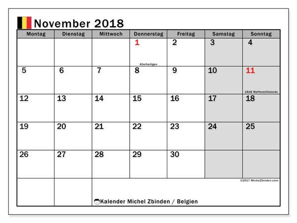Kalender für November 2018, mit Feiertagen in Belgien. Monatlicher Zeitplan zum kostenlosen ausdrucken.