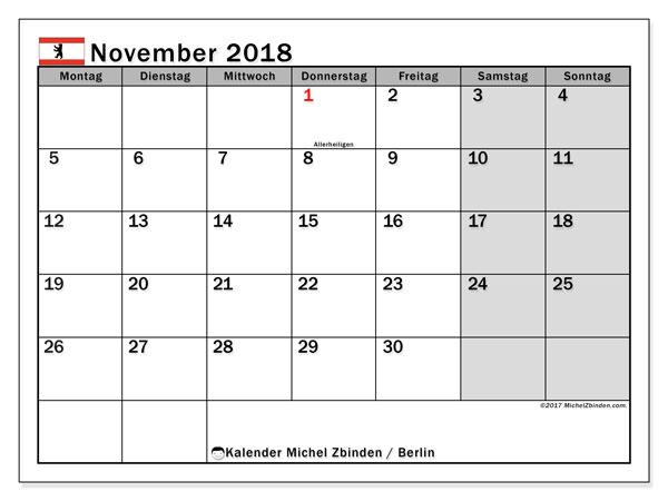 Kalender für November 2018, mit Feiertagen Berlin. Kalender für den Monat zum kostenlosen Ausdrucken.