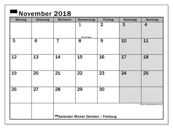 Kalender für November 2018, mit Feiertagen des Kantons Freiburg. Kostenlos ausdruckbare Zeitplan.