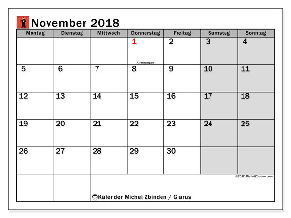 Kalender für November 2018, , mit Feiertagen des Kantons Glarus. Kostenlos ausdruckbare Zeitplan.