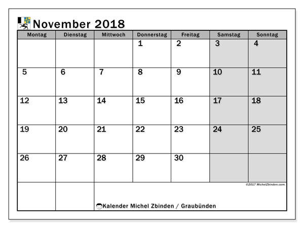 Kalender für November 2018, , mit Feiertagen des Kantons Graubünden. Zeitplan zum kostenlosen ausdrucken.