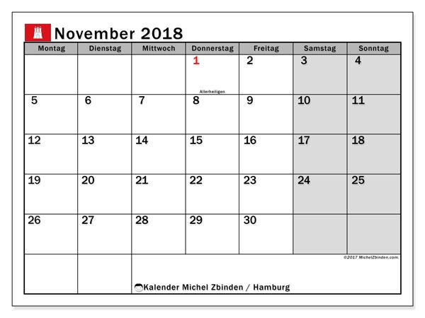 Kalender für November 2018, mit Feiertagen Hamburg. Kostenloser Zeitplan zum ausdrucken.