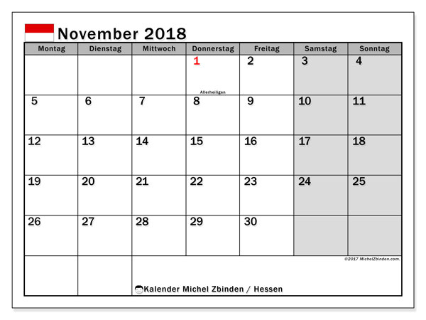 Kalender für November 2018, mit Feiertagen Hessen. Kostenloser Kalender zum ausdrucken.