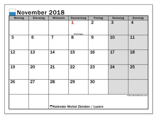 Kalender für November 2018, , mit Feiertagen des Kantons Luzern. Kostenlos ausdruckbare Zeitplan.