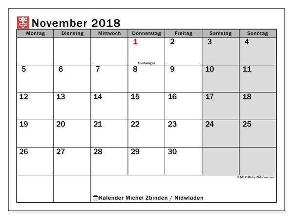 Kalender für November 2018, mit Feiertagen des Kantons Nidwalden. Kostenloser Planer zum ausdrucken.