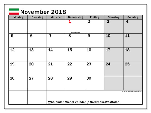 Kalender für November 2018, mit Feiertagen Nordrhein-Westfalen. Kalender zum kostenlosen ausdrucken.