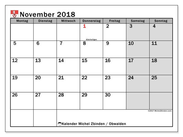 Kalender für November 2018, mit Feiertagen des Kantons Obwalden. Planer zum kostenlosen ausdrucken.