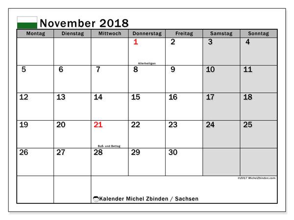 Kalender für November 2018, mit Feiertagen Sachsen. Kostenloser Planer zum ausdrucken.