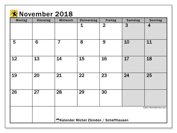 Kalender für November 2018, mit Feiertagen des Kantons Schaffhausen. Kostenloser Kalender zum ausdrucken.