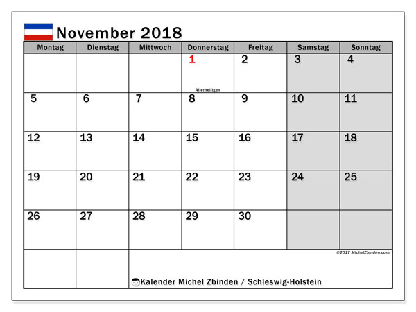 Kalender für November 2018, mit Feiertagen Schleswig-Holstein. Kostenlos ausdruckbare Kalender.