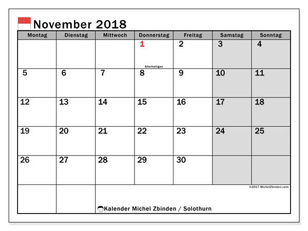 Kalender für November 2018, mit Feiertagen des Kantons Solothurn. Planer zum kostenlosen ausdrucken.